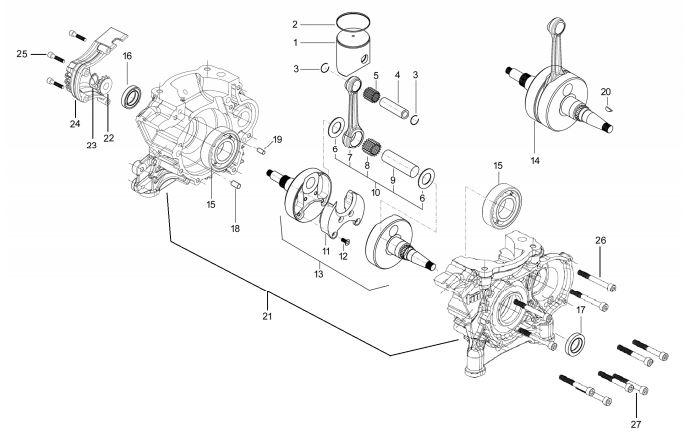 Esploso Albero Motore - Pistone OK / OK J